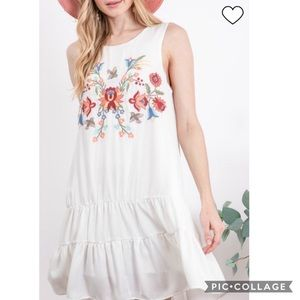 Boutique Ivory Boho Embroidered Hippy Dress S